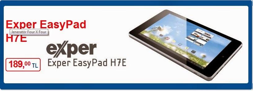 Exper EasyPad H7E  18 Nisan-24 Nisan 2014 Güncel Broşür, Bim marketi Exper EasyPad H7E Tablet Bilgisayar Katalog ve İndirimler 189,00 TL  Diğer Aktüel Ürünler EasyPad H7E'nin IPS ekranıyla, renklerin canlılığını, 179 derece yatay açıdan bile görebilirsiniz Çift kamerasıyla ön kamerayı görüntülü konuşmalar için