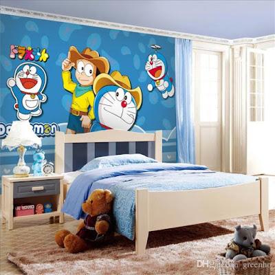 Wallpaper Dinding Kamar Tidur Anak Lucu Doraemon