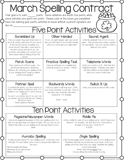 Fun Spelling Worksheets : Fourth and ten march spelling homework freebie