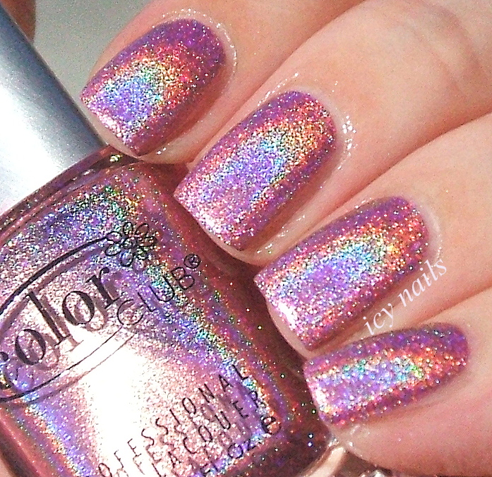 Color Club Holographic Nail Polish Swatches: Color Club Halo Hues: Miss Bliss And Over The Moon