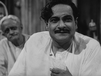 Gangapada Basu as Huzur's neighbour, moneylender Mahim Ganguly in Jalsaghar, Jalsaghar aka The Music Room (1958), Directed by Satyajit Ray