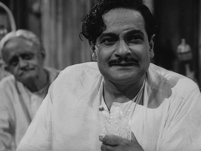 Gangapada Basu as Huzur's neighbour, moneylender Mahim Ganguly in Jalsaghar, Jalsaghar aka The Music Room (1958), Directed by Satyajit Ray
