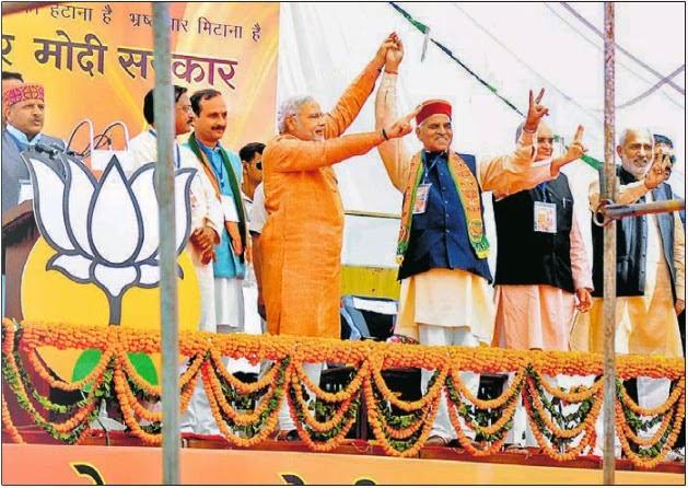 हिमाचल प्रदेश के सोलन में रैली के दौरान भाजपा प्रत्याशी वीरेंद्र कश्यप के साथ प्रधानमंत्री पद के उम्मीदवार नरेंद्र मोदी, पर्व सांसद सत्य पाल जैन व अन्य भाजपा नेता