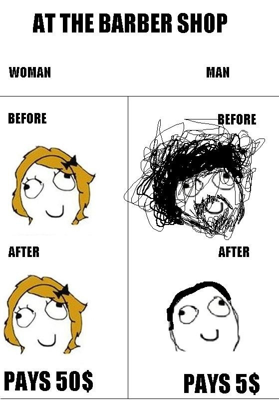 At The Barber Shop - Woman vs Man
