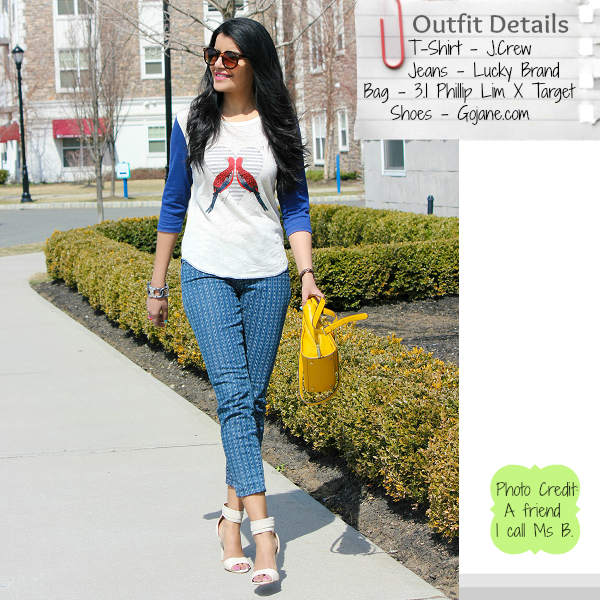 Jcrew linen baseball tee in lovebirds, Lucky Brand jeans, Phillip Lim for Target yellow satchel