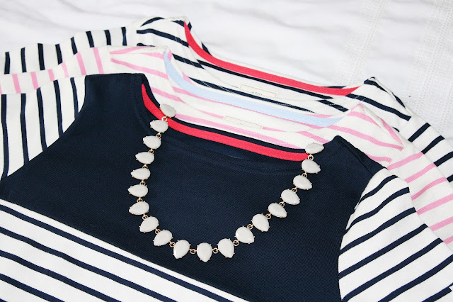 Katherine Penney Chic Blogger Fashion Style Work Joules Stripes Preppy Tops Summer
