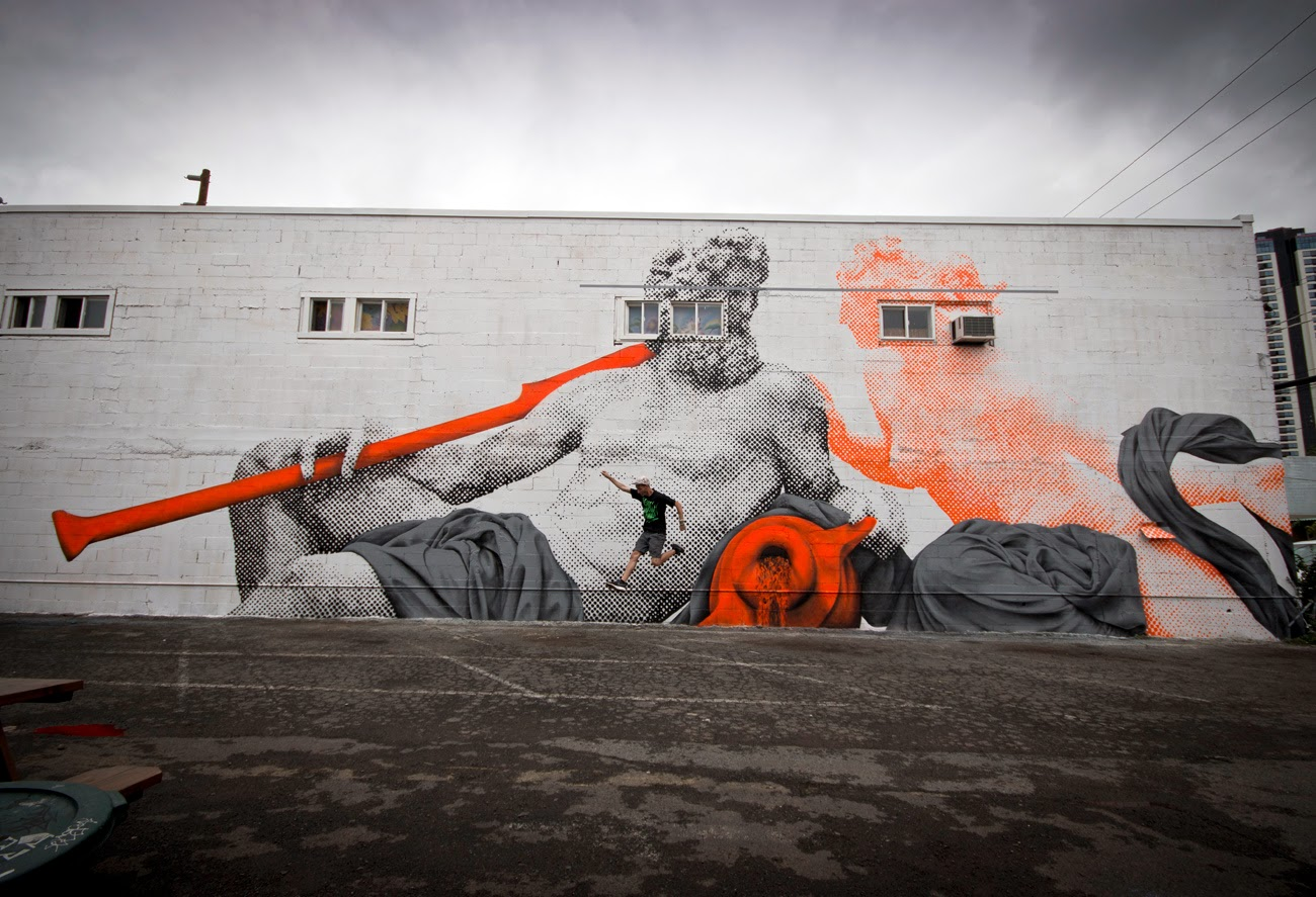 While we last heard from them in Miami , Cyrcle are now in Honolulu where they just wrapped up this sweet new Street Art piece. 1