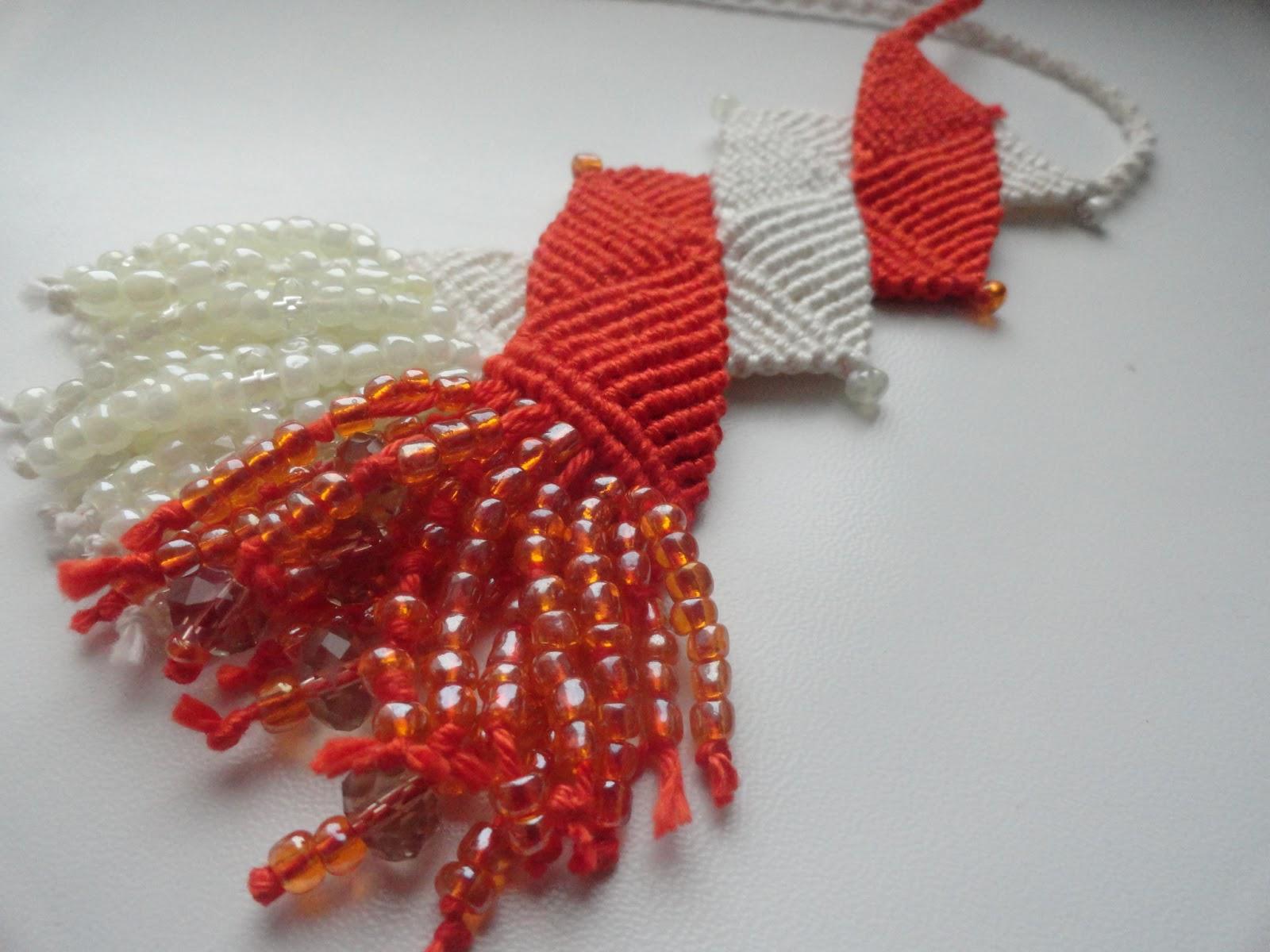 Ожерелье, макраме, репсовый узел