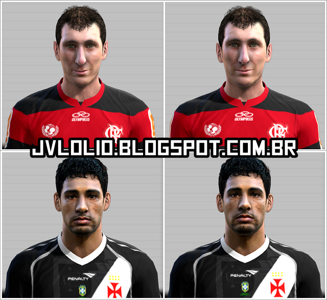 Face de Darío Bottinelli do Flamengo e Face de Diego Souza do Vasco da Gama para PES 2012 Download, Baixar Faces de Darío Bottinelli e Diego Souza para PES 2012