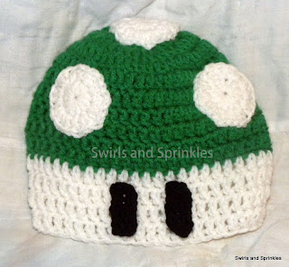 Swirls and Sprinkles: easy, free, crochet 1- up mushroom hat