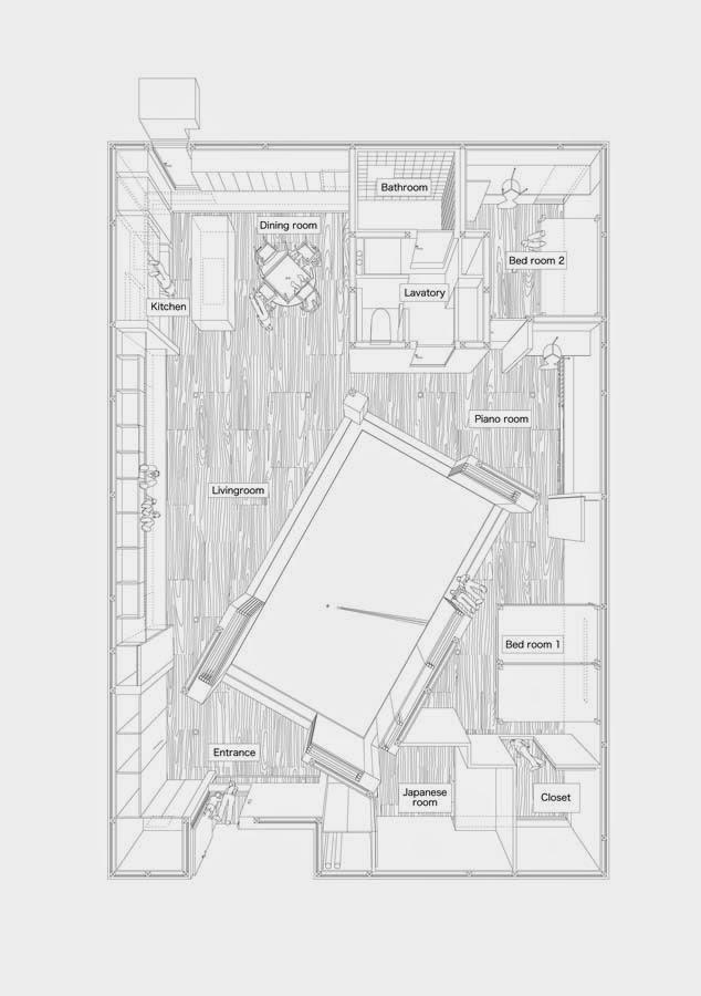 Plano con perspectivas de la casa vista superior sin el techo