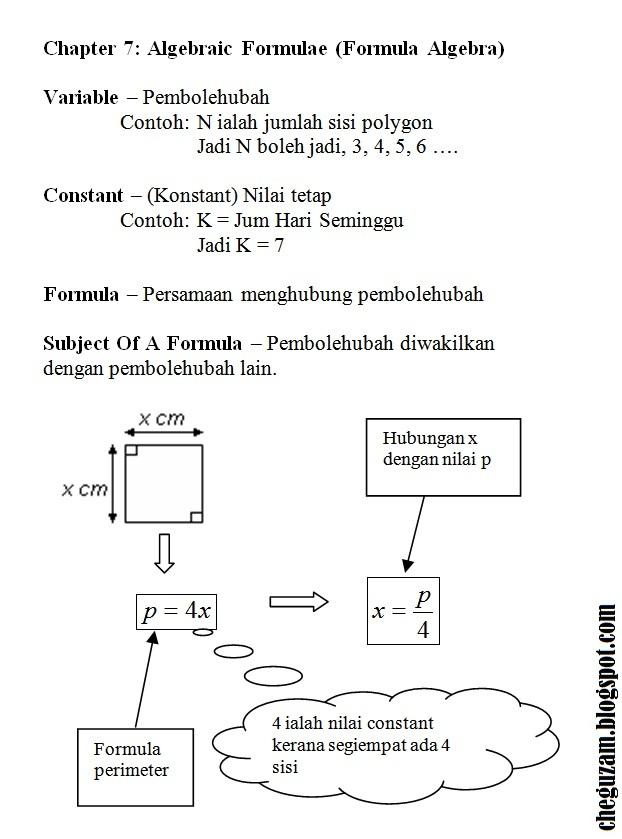 Nota Matematik Tingkatan 3 Bab 7 Algebraic Formulae Formula Algebra Chegu Zam