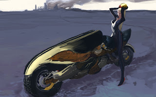 Sexy Black Tights Blonde Hair Motor Bike Female Girl Anime HD Wallpaper Desktop PC Background 1893