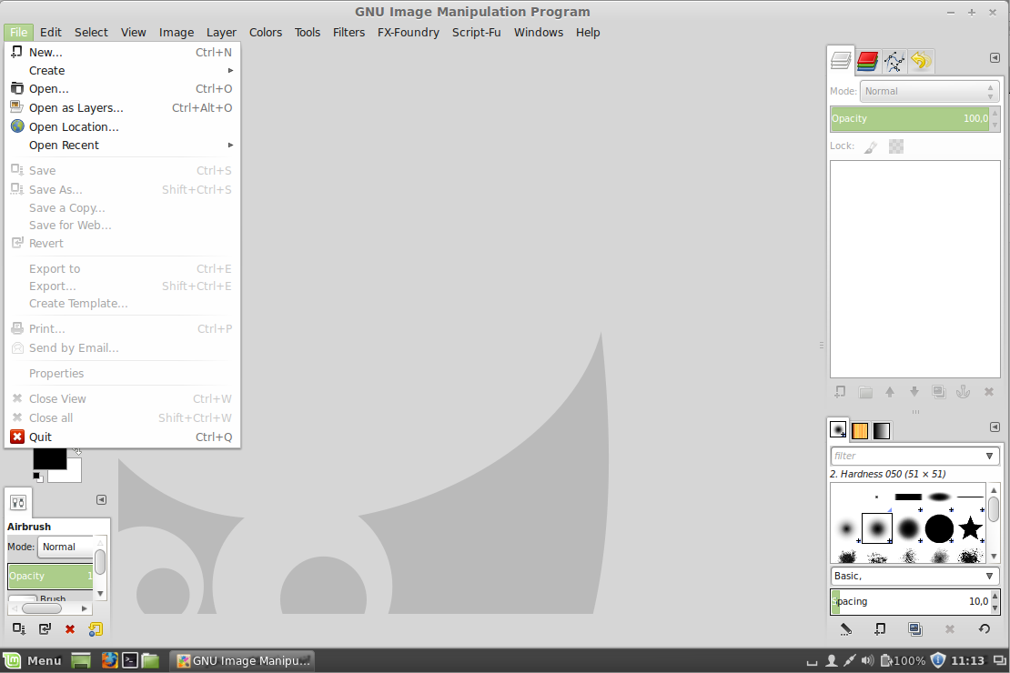 Linux Mint - GIMP - Single Window Mode