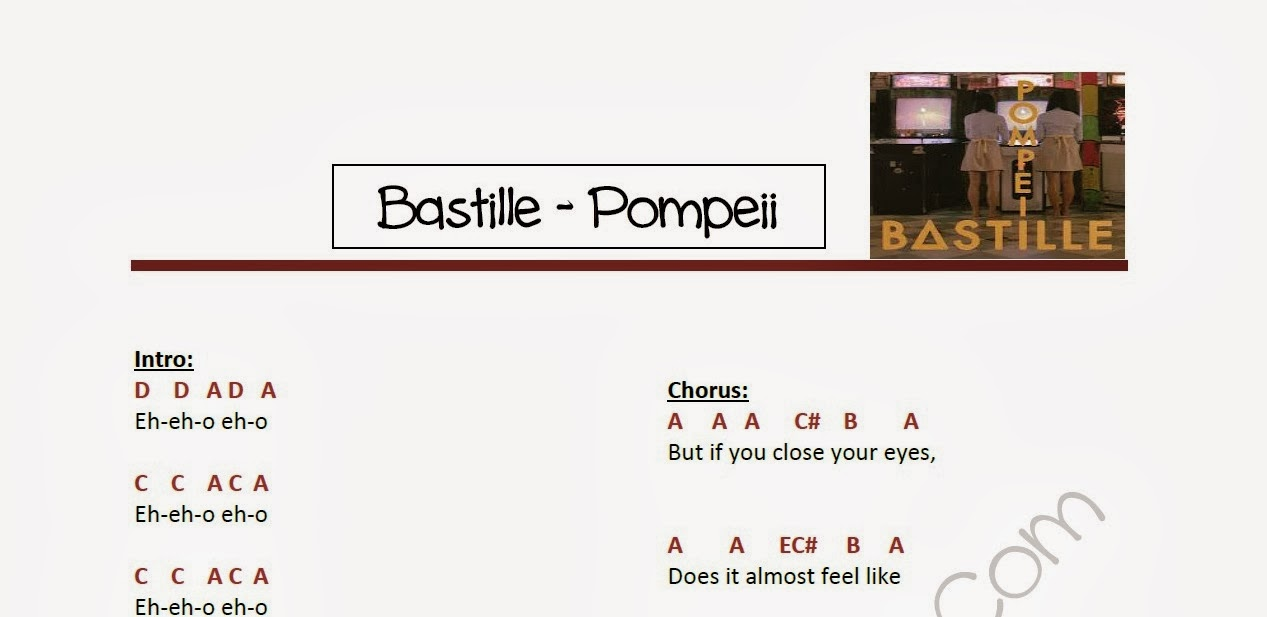 pompeii notes Virtual piano enables you to innovate and entertain with music to empower you to experience the piano online  pompeii – bastille audio august 12, 2016 .