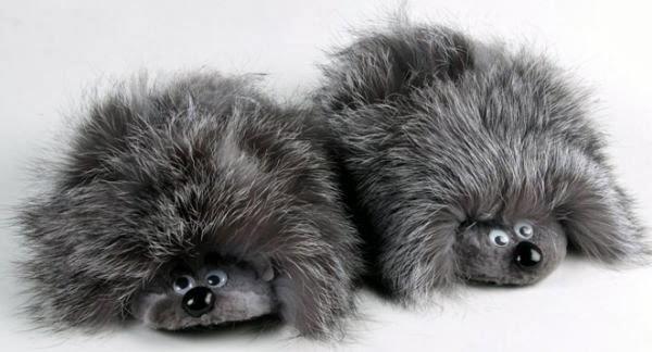 тапочки из меха в виде зверушек. How to sew cool slippers - animals?