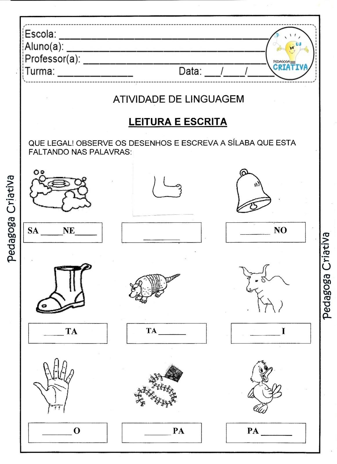 Preferência Pedagoga Criativa: Atividade para Imprimir- Linguagem: Educação  JX06
