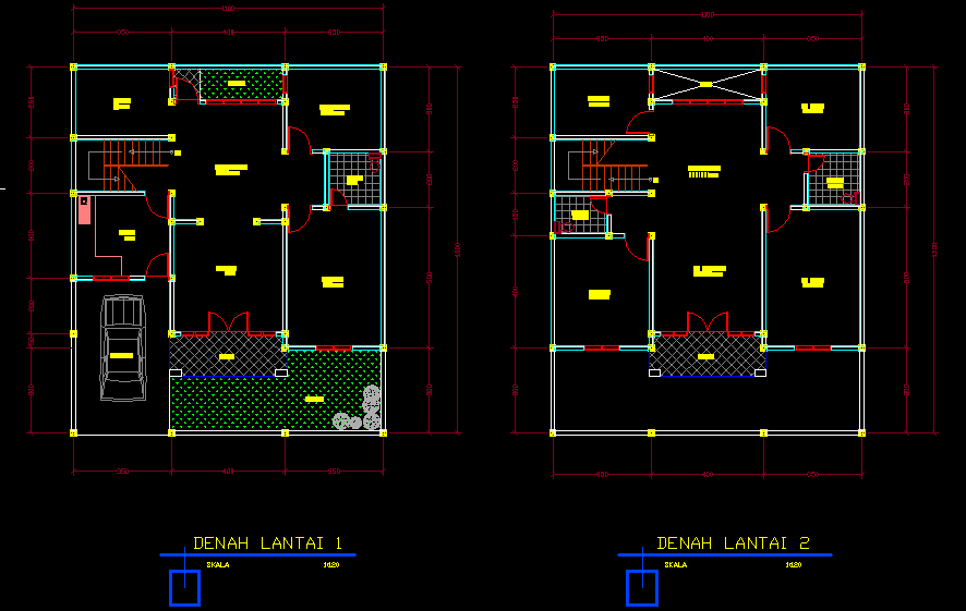 desain rumah autocad ruko gudang