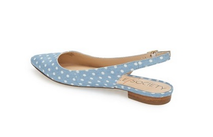 Sole Society Powder blue sling back flats with white polka dots