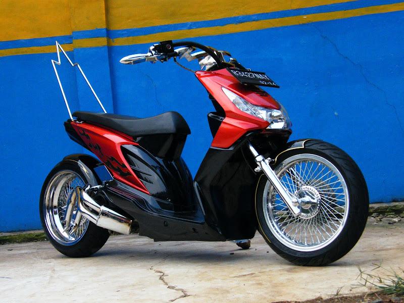 Honda Beat Modif Unik Merah Trends Motif Monim title=