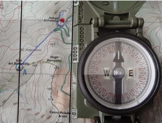 Mapa orientado con brújula lensática