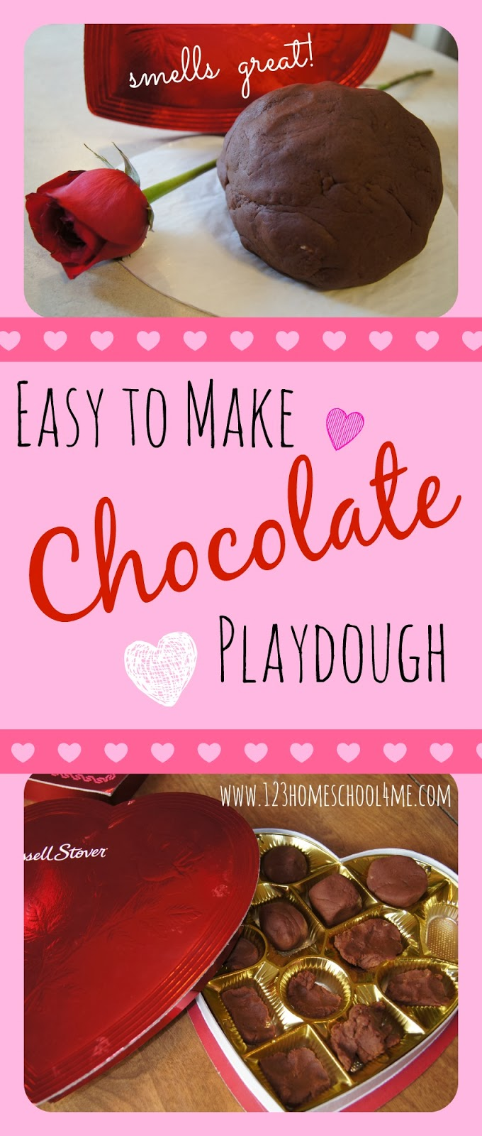 Easy to Make Chocolate Playdough Valetnine's Day Kids Activity