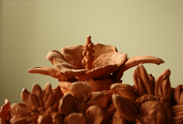 hibiscus, flowers, spring, detail, sculpture, hand-built, clay, earthenware, seasons, bloom, red