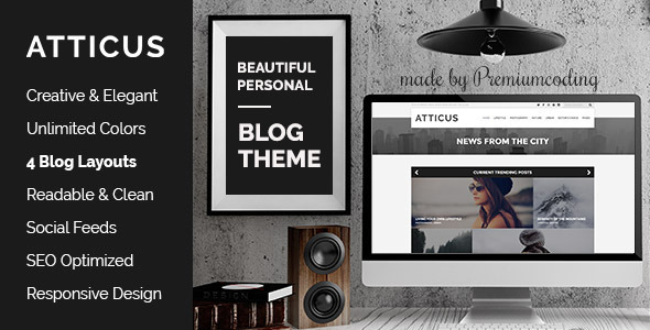 Atticus v1.2 Minimal & Personal WordPress Blog Theme
