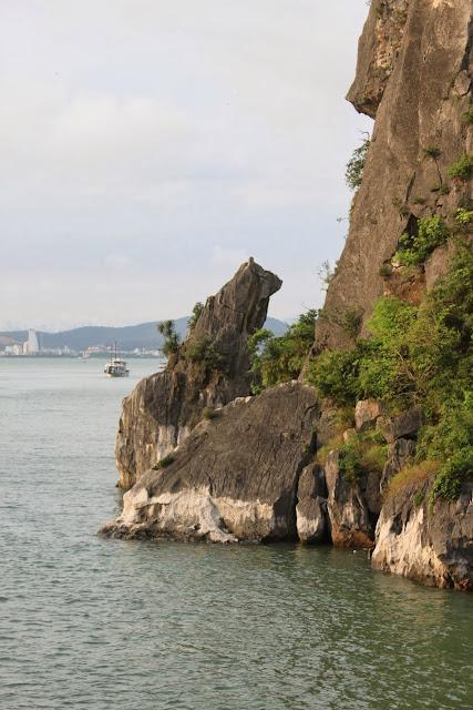 A lookalike dog rock statue at Halong Bay in Hanoi, Vietnam