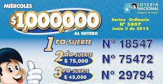 numeros ganadores loteria nacional sorteo 5807