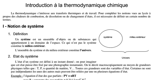 Cours Thermochimie Ch 1 Smpc S1