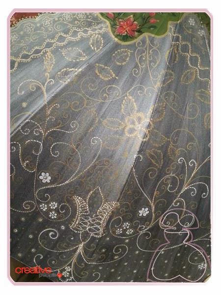 Detalle deltantal fallera en paraguas pintado a mano por Sylvia Lopez Morant