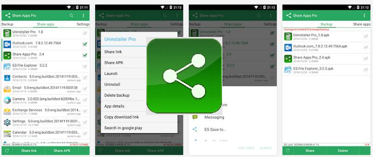 تطبيق مجاني لإرسال التطبيقات المثبتة بصيغة APK من أندرويد لأخر Share Apps 3.1