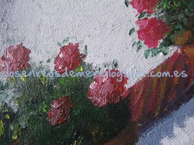 Detalle de Tiestos con geranios - Óleo sobre lienzo