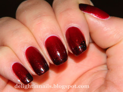 Ruby Red Gradient Manicure