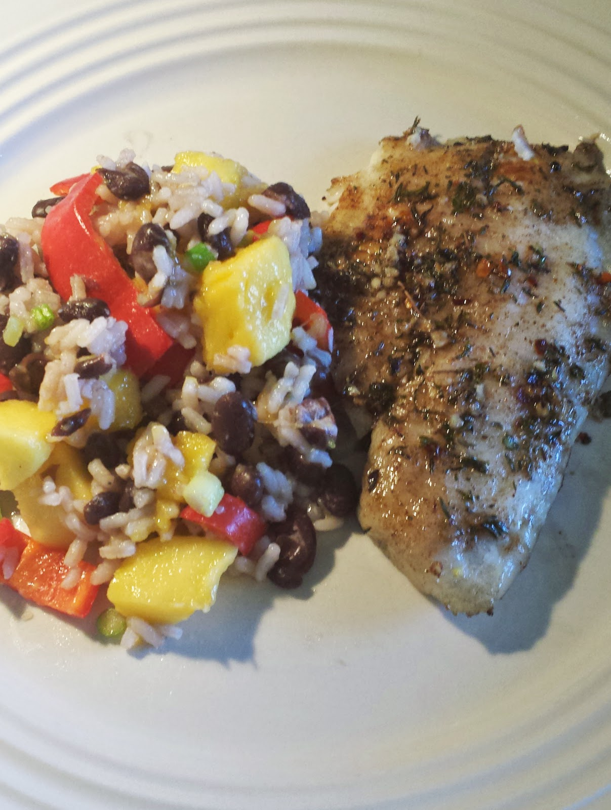 caribbean fish, black beans and rice, mango