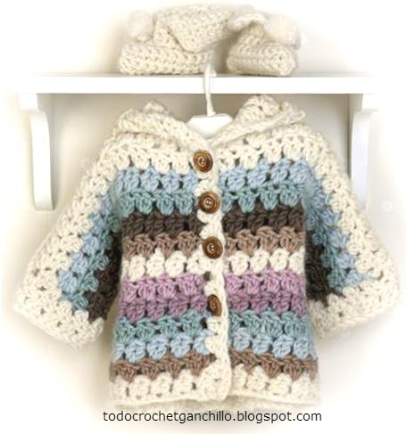 Abrigo botas para bebe paso a paso crochet todo crochet - Tejer chaqueta bebe 6 meses ...