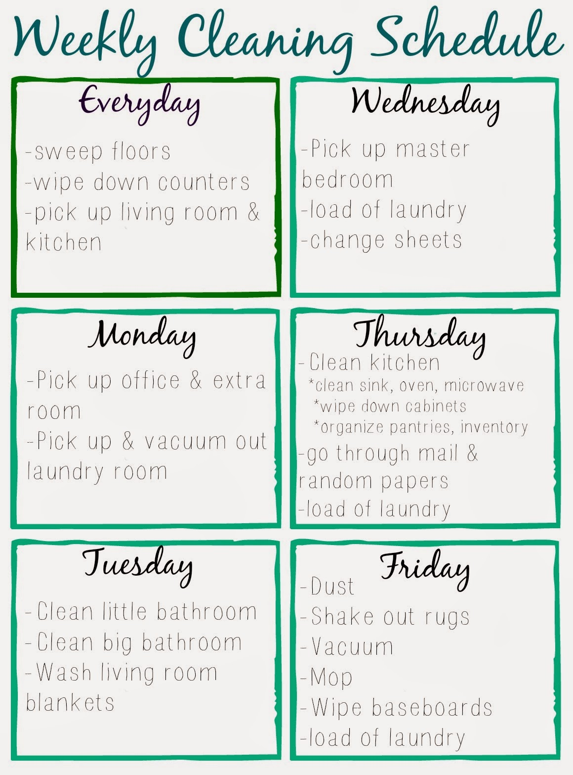 Astounding image regarding printable cleaning schedule
