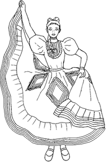 Vestido de Jalisco para colorear