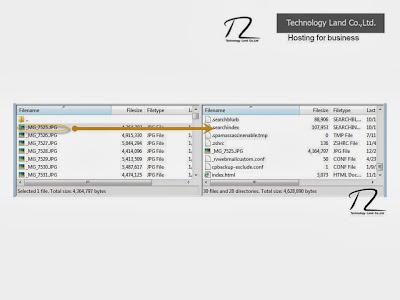 ด้วยวิธีการ FTP และลากไฟล์ไปเพื่อ Upload ขึ้น