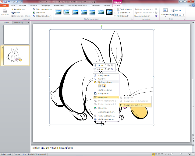 PowerPoint 2010 - ClipArt Gruppierung aufheben