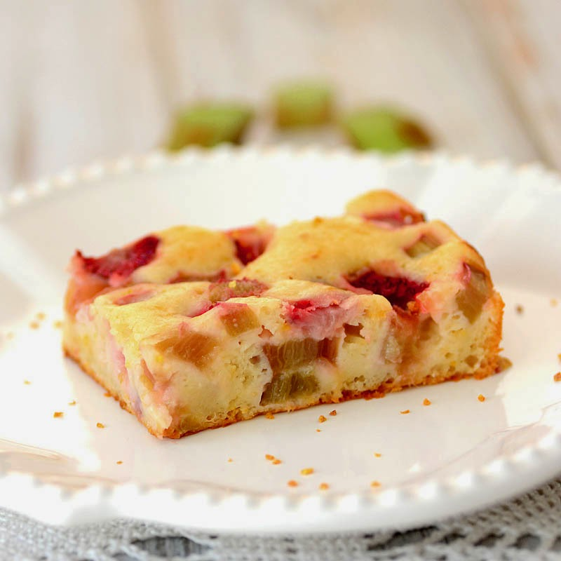 Rhubarb-Strawberry Cake with Orange Zest