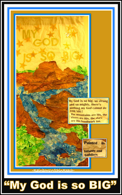 photo of: My God is So Big: Bulletin Board Created from Toddler Paintings (via RainbowsWithinReach Round UP)