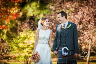Bride and Groom at Fasque House Fettercairn, Scotland