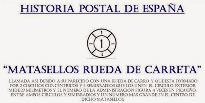 HISTORIA POSTAL MATASELLOS RUEDA DE CARRETA