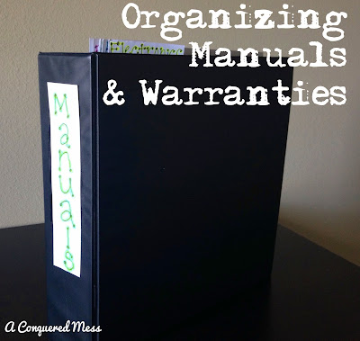 Conquering the Paper Clutter: Manuals and Warranties