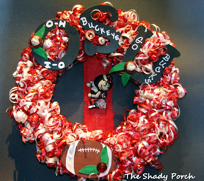 Team Wreath #wreath #ribbon #crafts #football #team #door #DIY