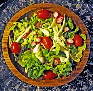 Wooden Bowl with Green Salad and Grape Tomatoes