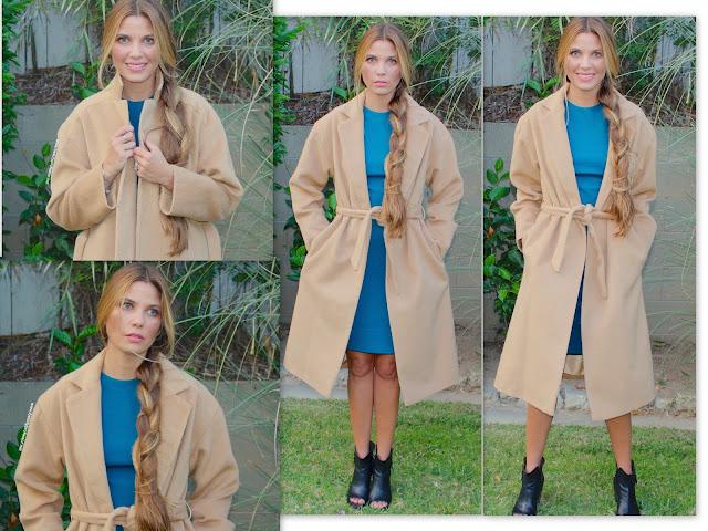 topshop long belted camel coat