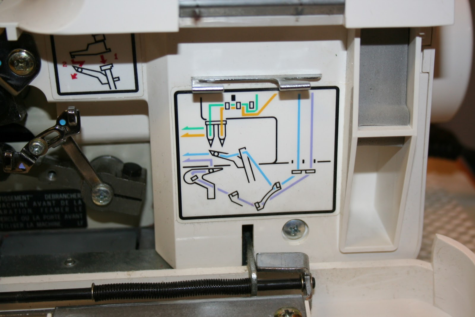 On my serger the thread paths are colour coded and I marked the threading  order with a black permanent marker.